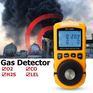 Ht 1805 4 In 1 Gas Analyzer Detector Portable O2 Co H2s Harmful Tester Lot Ao