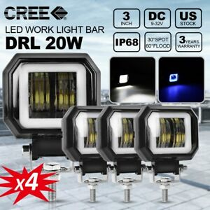 4x 3inch Square 80w Spot Pods Cree Led Work Light Suv Lamp Offroad Atv Jeep 4wd