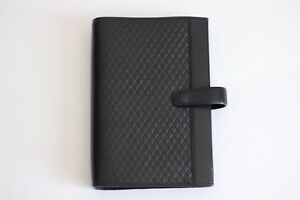 Black Filofax Personal Adelphi Delux Smooth Leather 6 Ring Organizer Retired