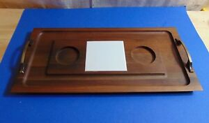 Vintage Solid Walnut Appetizer Serving Tray Looks As If It Was Never Even Used