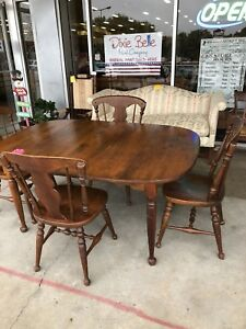 Heywood Wakefield Dining Table With Four Chairs Vintage Solid Wood