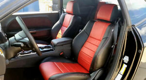 Katzkin Dk Graphite Red Leather Int Seat Covers Fit 2011 2014 Dodge Challenger