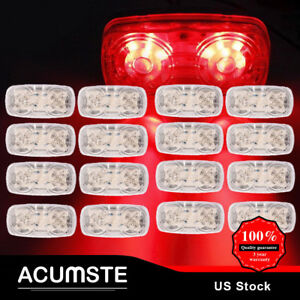 4 x2 Clear red Double Bullseye Trailer 12led Lights Boat Side Marker Light X20