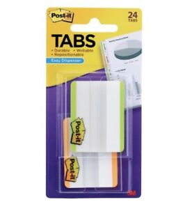 Post it Tabs With On the go Dispenser 2 inch Lined Lime Orange 24 tabs