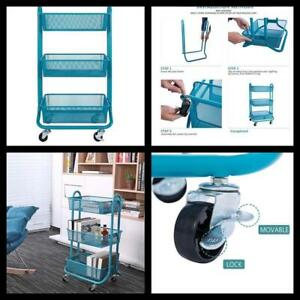 Utility Cart With Handle 3 Tier Metal Mesh Rolling Storage Organizer Turquoise