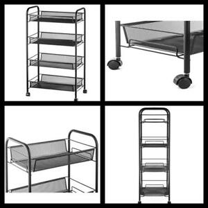 4 Tier Utility Cart Rolling Basket Stand Metal Trolley Kitchen Bathroom Storage