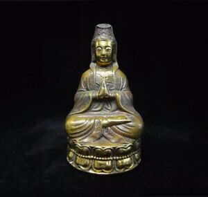 Old Chinese Gilt Bronze Guanyin Buddha Seated Statue Sculpture Mark