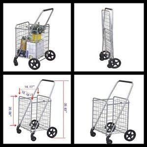 Utility Shopping Grocery Cart Collapsible Portable Heavy Duty Trolley Storage