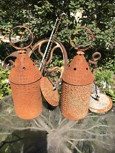 15 Electrified Pair Chimney Lanterns In Rusted Tin Punched Tin