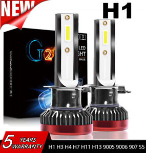 2x H1 Led Headlight Mini Car Bulbs 110w Cob Chip Driving Lamps Drl Light 6000k