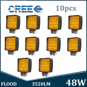 10x 48w Led Work Light Fog Lamp Offroad Tractor Flood Yellow 5d Opticals Square
