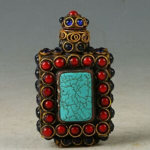 Tibet Vintage Copper Inlay Turquoise Coral Beads Snuff Bottle