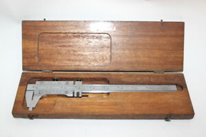 Starrett No 123 Master Bar Vernier Wooden Box 8 001 Outside Machinist Tool
