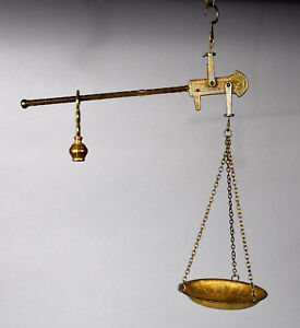 Antique Steelyard Style Gilt Metal Hanging Scale 15 3 8 High X 12 Wide