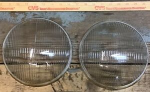 Pair Of Vintage Riteway Convex Headlight Lenses 3658 The Corcoran Brown Lamp Co