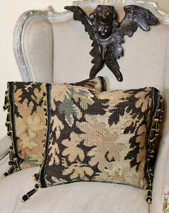 Two Antique French Aubusson Verdure Pillow C18th Tapestry Pillow Passementerie