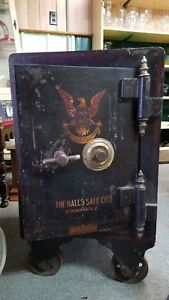 Vtg hall s Safe Co Cincinnati Oh Iron floor Safe W combination
