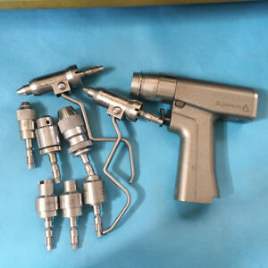 Used Stryker 6203 System 6 Rotary Drill Handpiece With 8 Attachments Set