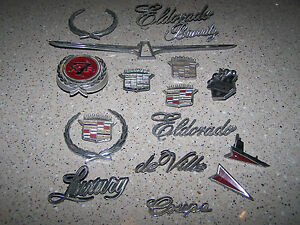 Vintage Lot Metal Car Emblems Cadillac Thunderbird Oldsmobile Ford Pontiac