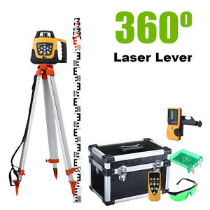 Green Self leveling Rotary Rotating Laser Level 500m 1 65m Tripod 5mstaff Set