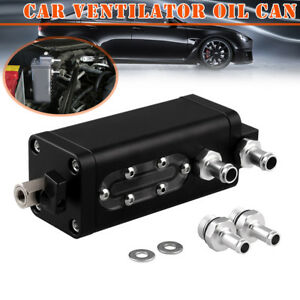 Car Oil Catch Can Baffled Aluminum 2 Port Black Replacement Accessories
