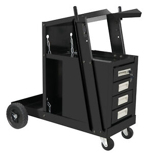 Welding Cart Plarma Cutter Tank Welder Storage 4 Drawer Shelves Cabinet Utility