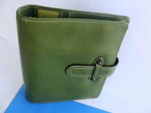 Compact 1 rings Franklin Covey Green Leather Planner Binder Magnetic