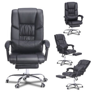 Ergonomic Office Chair Pu Leather Recliner Armchair Cushion W Footrest Black