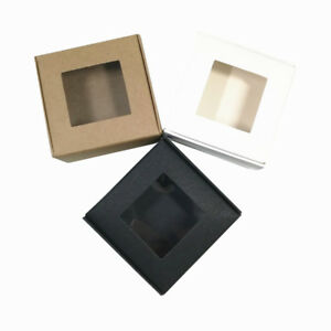 7x7x3cm Folded Clear Window Kraft Paper Box For Soap Gift Ring Jewelry Candy Toy