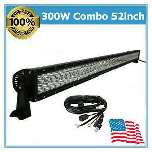 52 300w Led Light Bar Combo Fit Driving Fog Boat Atv Roof Truck Ford Wiring