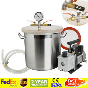fda 5 Gallon Vacuum Degassing Chamber Silicone Kit W 3 Cfm Pump Hose Sale Usa
