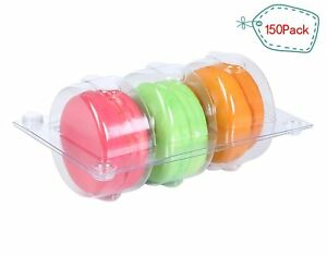 Backery Supply Plastic Clear Macaron Insert With Clip Closure Holds 3 Macarons