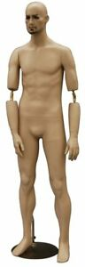Full Body Male Mannequin Fiberglass Flesh Tone Movable Elbows W Base