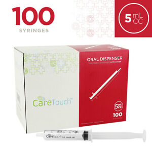Disposable Oral Dispenser Syringe With Covers 100 Sterile Syringes 5ml