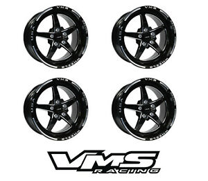 X4 17x8 Vms Racing Star 5 Spoke Black Rims Wheels 4x100 4x114 Et 35