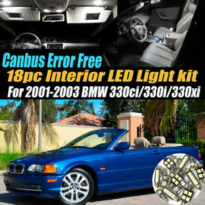 18pc 2001 2003 Bmw 330i Ci Xi Canbus Error Free Interior Led White Light Kit