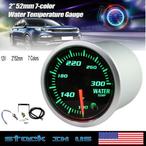 52mm Silver 7 Color Led Water Coolant Temperature Temp Gauge Meter F
