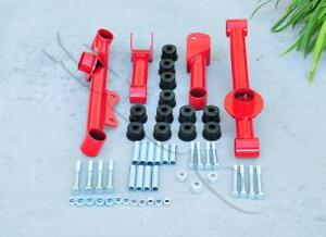 Red 4 Pcs Rear Control Arms Kit W Polyurethane Bushing For 79 04 Ford Mustang
