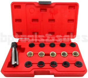 16pc Spark Plug Thread Repair Rethreading Tool Kit M16 Threaded Coil Insert