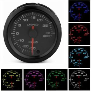 2 52mm Pointer Turbo Boost Gauge Stepper Motor 7 Color Led 12v Psi Meter Black