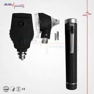 Otoscope Ophthalmoscope Mini Fiber Optic Exam Led Diagnostic Ent Set black