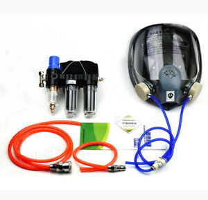 3in1 Painting Spray Supplied Air Fed Respirator System 6800 Full Face Gas Mask