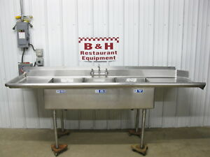 8 Stainless Steel Left Side Soiled Dirty Dish Washer Machine Table 3 Bowl Sink