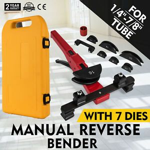 Multi Manual Pipe Tube Bender Tool Kit 1 4 7 8 With 7 Dies Bending Copper Pvc