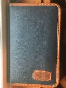 Vtg 90 s Day timer Blue Brown Trim Leather Day Planner Binder 8 X 5 W Inserts