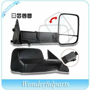 Pair Black Power Heated Tow Side Mirrors For 2010 2015 Dodge Ram 1500 2500 3500