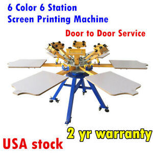 Us adjusted 6 Color 6 Station Screen Printing Machine T shirt Printer Carousel