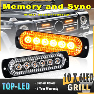 10pcs 6led Synchronize Beacon Emergency Warning Strobe Grille Light Amber Yellow