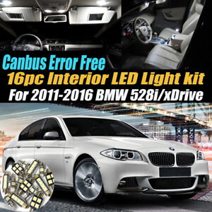 16pc 2011 2016 Bmw 528i Xdrive Canbus Error Free Interior Led White Light Kit
