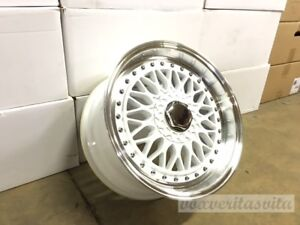 17 Rs Style White Machine Lip Wheels Rims Fits Vw Volkswagen Gti Golf 2 0 Gli